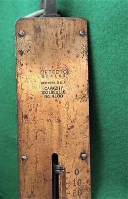 Antique Detecto Hanging Brass Spring Scale 100 Lb. Capacity  ^1276