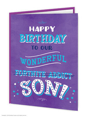 Son Birthday Card Funny Comedy Humour Witty Novelty Cheeky Joke Fortnite Addict