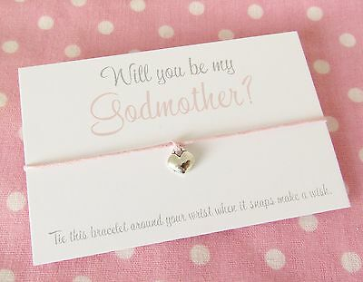 Will You Be My Godmother? Christening Baptism Charm Wish Bracelet Gift