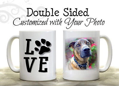 Personalised Dog Cat Lover Photo Mug Custom Coffee Cup Pet Paw Print Gift