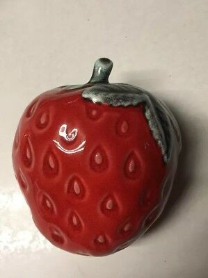 Vintage Pottery Strawberry Wall Pocket Marked USA 50's to 60's Mid-Century