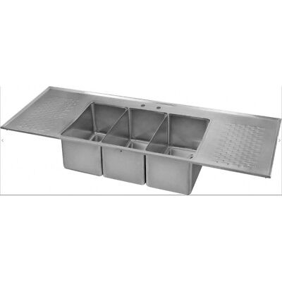 Stainless Steel 3 Bowl Drop In Bar Sink with 2 Drain Boards
