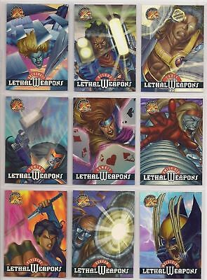 1995 Fleer Ultra X-Men ALL-CHROMIUM Lethal Weapons HOLO-FLASH Chase 9 Card Set