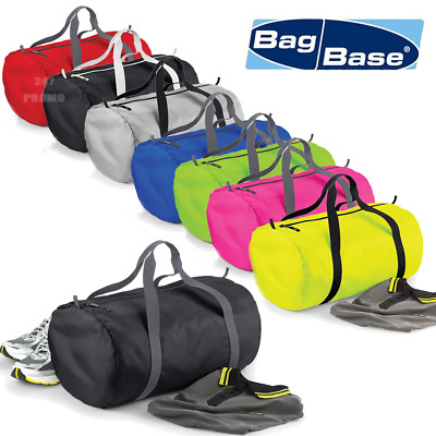 BagBase Barrel Bag Packaway Holdall Sport Bag Water Resistant Duffle Gym Bag