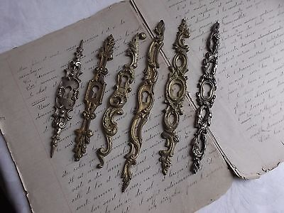 French 6 antique cabinet furniture key hole plates  bronze different patterned