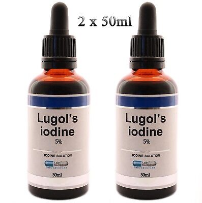 LUGOLS IODINE solution 5% solution 50ml/ 100ml glass bottle with pipette dropper
