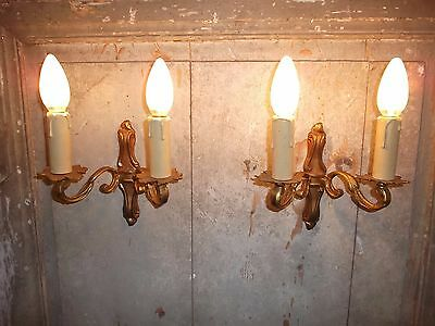 French a pair of classic gold patina bronze wall light sconces  antique