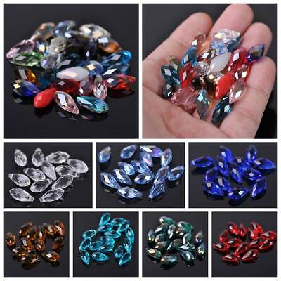 20pcs Faceted 16x8mm Teardrop Charm Glass Crystal Loose Spacer Beads DIY Pendant