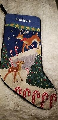 ANALIESE.  Needlepoint Embroidered Christmas Stocking  Vintage Wool, and Velvet
