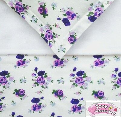 Dolls Pram Blanket & Pillow Cot Bedding Set Purple Vintage Floral Baby Annabell