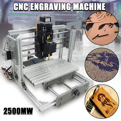 DIY 3 Axis Mini CNC Milling Machine Engraving Router Kit + 2500mw Laser Engraver