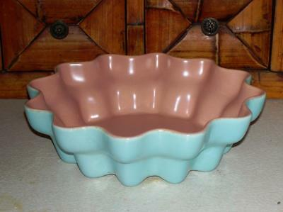 """Vintage Catalina Art Pottery Turquoise and Pink Scalloped Edge Bowl 8 1/2"""""""