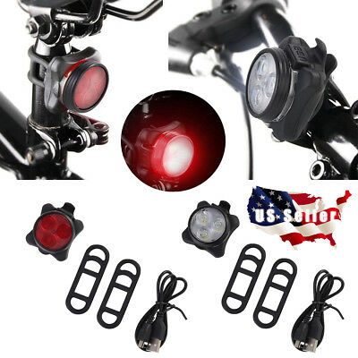 USB Rechargeable 3 LED Bike Lights Set Headlight Taillight Caution Bicycle Light