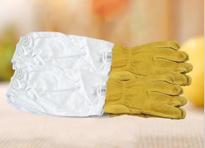 2* Large Beekeeping Gloves Goatskin Bee Keeping W/ Vented Beekeeper Long Sleeves