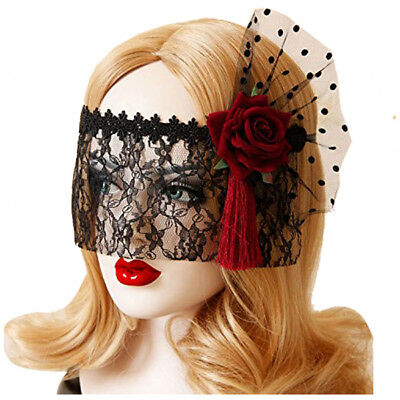 4X(Retro Black Lace Veil Cover Headdress Funny Party Half Face Death COS Mask Q4