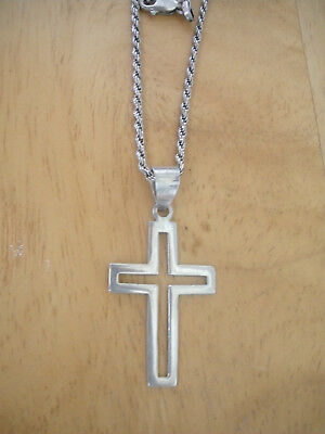 Sterling Silver Vintage 925 Religious Cross Cut Out Pendant (5.3g) - 719485