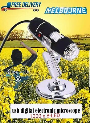 USB Digital Microscope Endoscope Magnifier Electronic Video Camera 1000x 8-LED