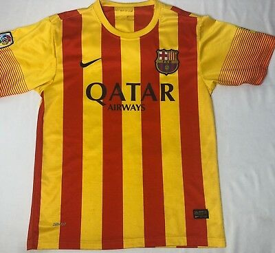 b790e9d0b73 NIKE DRI-FIT FC BARCELONA MESSI 2013 2014 striped MENS M jersey soccer  football