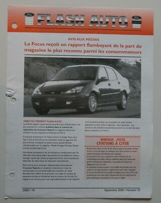 FORD FOCUS Flash Auto 2000 dealer sheet brochure - French - Canada - ST501000818