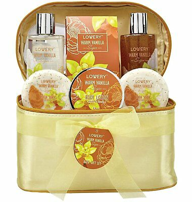 Bath and Body Gift Basket For Women - Warm Vanilla Sugar Home Spa Set with Bag