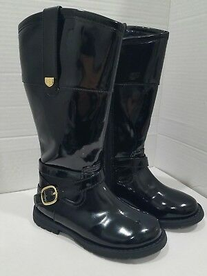 Zara Girls Toddler Black Patent Leather Boots with Gold Accent