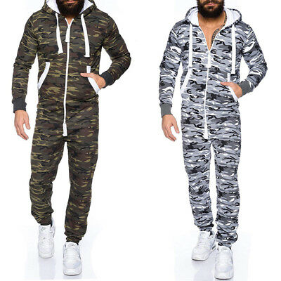 New Mens Camouflage Hooded Zip up 1Onesie Playsuit All in One Piece Jumpsuit