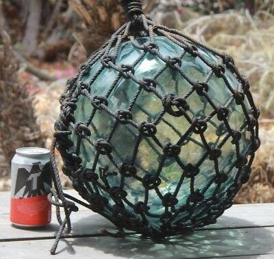 "Large Signed FF Vintage Japanese Blown Glass Fishing Float Buoy 40"" Tiki Bar"