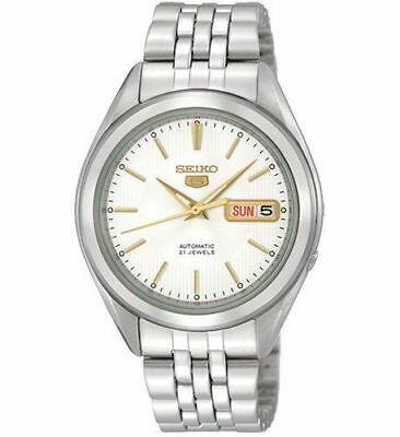 New Seiko 5 Men's Automatic Self-Winding Silver Skeleton Back Watch SNKL17