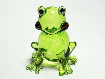 Frog Figurines Green Collectible Miniature Hand Blown Art Glass Garden Decor