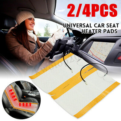 4Pcs Universal 12V Auto Car Seat Carbon Fiber Heated Seat Heating Heater Per Mat