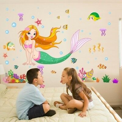 Mermaid Princess Wall Art Stickers Mural Decal Kids Girls Bedroom Home Decor