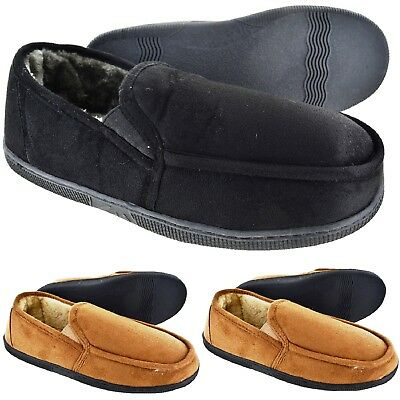 Mens Gent Warm Fleece Lined Moccasin Winter Flat Slippers Shoes Uk Size 7-11 New