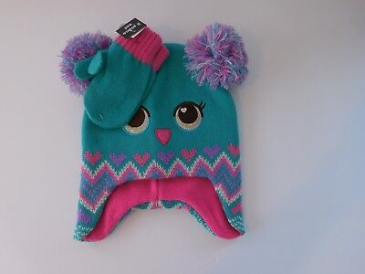 Girls Toddler Warm Winter Hat and Mitten Set