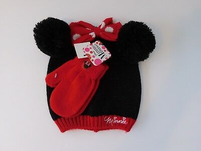 Disney Minnie Mouse Toddler Girls Warm Winter Hat and Mittens Set