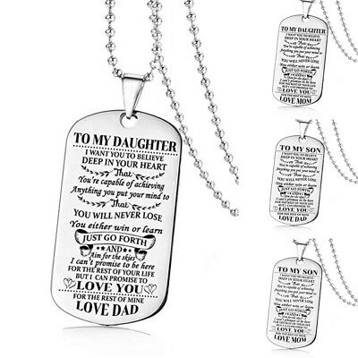 To My Son/Daughter Necklace Gifts For Mother Father Teacher Pendant Chain Family