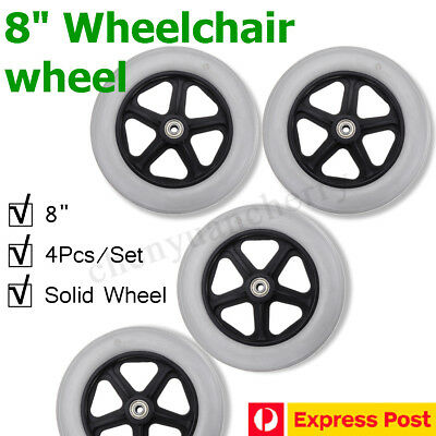 4pcs Replacement Parts 8'' Solid Front Rear Wheel for Wheelchair Rollator Walker