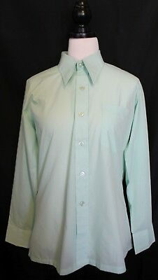 VINTAGE 1960s ~ Benson London Mint Green Poly Cotton Sharp Collar Shirt 16 34