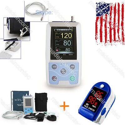 US Seller 24 Hours Ambulatory Blood Pressure Holter ABPM50+Blue Pulse Oximeter
