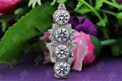 3.2 Ct Antique Art Deco Round Cut Engagement Ring Vintage In 925 Sterling Silver