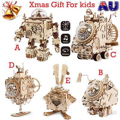 DIY 3D Puzzle Laser Cutting Wooden Puzzle Music Box Craft Robot Toy Xmas Gift AU