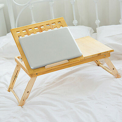 Laptop Lap Lapdesk Portable Desk Table Tray Bamboo Wooden Ergonomic Holder Bed
