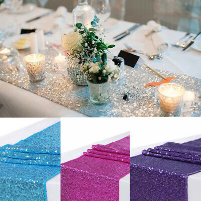 """12x108"""" Sequin Table Runners Sparkle Glitter Wedding Party Buffet Decoration Hot"""
