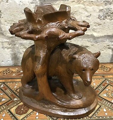 Antique Black Forest Bear Carving of a Table Centrepiece or a / Pipe Holder