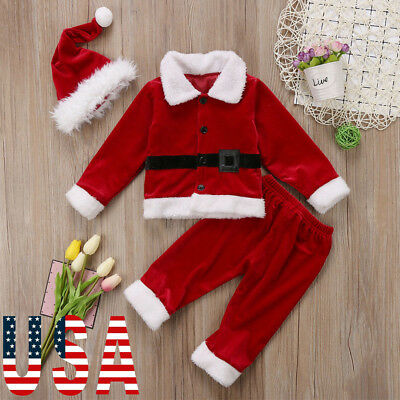 US My First Christmas Baby Boys Girls Santa Long Pants Hat Outfits Clothes Set