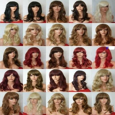 Women Fashion Natural Costume Curly Pale Ash light dark Blonde Brown Red Wig F