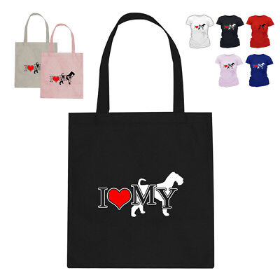 I Love My Airedale Terrier Dog Lover Tote Bag Gift 188