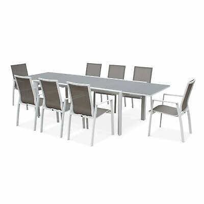 Salon de jardin table extensible - Washington Taupe - Table en aluminium 200/30
