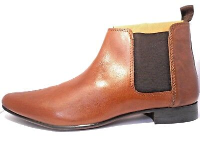 Red Tape Mens Real Leather Tan Smart Casual Formal Ankle Chelsea Boots