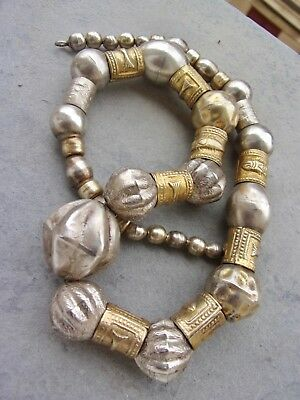 Antique ethnic Turkish Ottoman Islamic solid SILVER gilt FISH beads NECKLACE