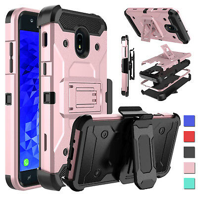 FOR SAMSUNG GALAXY J7 Crown S767VL Shockproof Hybrid Stand Belt Clip Case  Cover